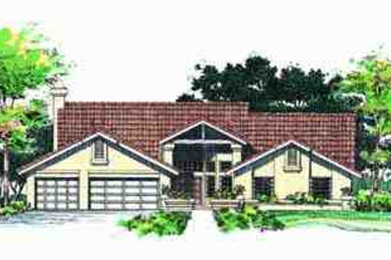House Blueprint - Adobe / Southwestern Exterior - Front Elevation Plan #72-217