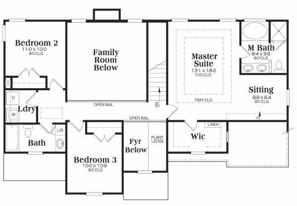 European Floor Plan - Upper Floor Plan Plan #419-149