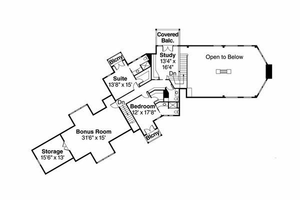 Craftsman Floor Plan - Upper Floor Plan Plan #124-761