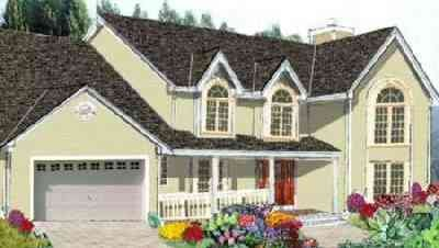 Traditional Style House Plan - 5 Beds 2.5 Baths 2416 Sq/Ft Plan #3-202 Exterior - Front Elevation