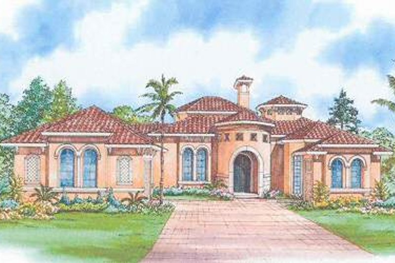 Mediterranean Style House Plan - 3 Beds 3.5 Baths 3446 Sq/Ft Plan #420-130 Exterior - Front Elevation