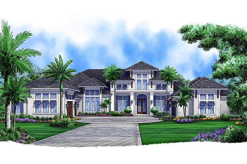 European Style House Plan - 4 Beds 4.75 Baths 5377 Sq/Ft Plan #27-455 Exterior - Front Elevation