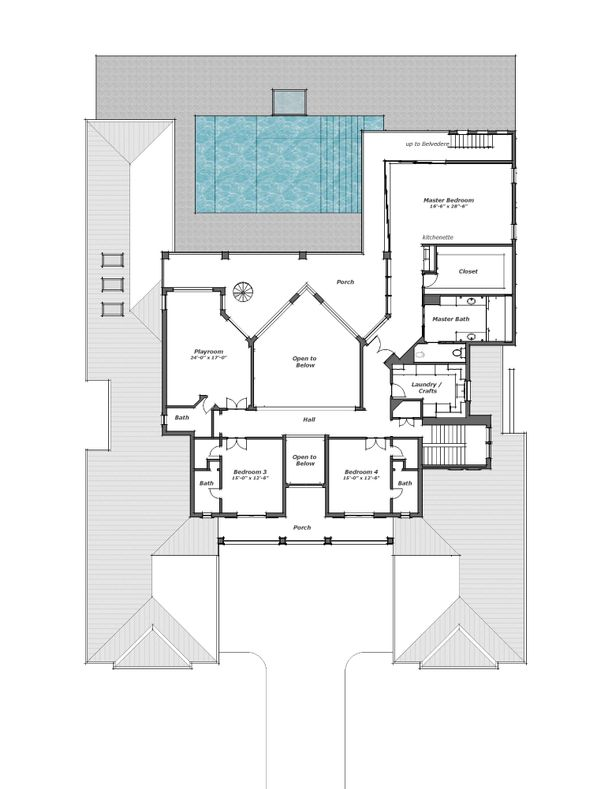 Southern Floor Plan - Upper Floor Plan Plan #481-9