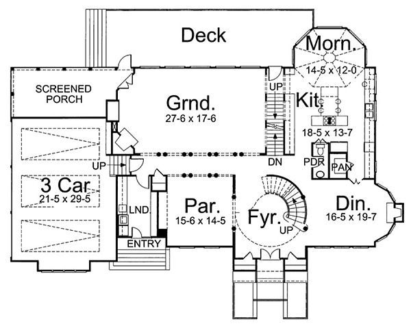 European Floor Plan - Main Floor Plan Plan #119-254