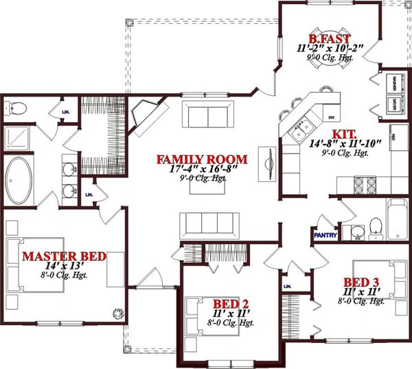 Bungalow Floor Plan - Main Floor Plan Plan #63-307