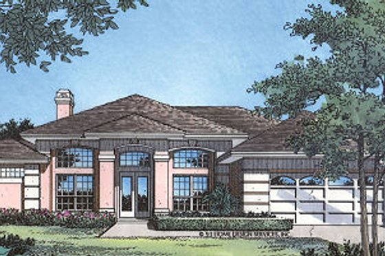 Mediterranean Exterior - Front Elevation Plan #417-197