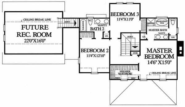 Farmhouse Floor Plan - Upper Floor Plan Plan #137-106