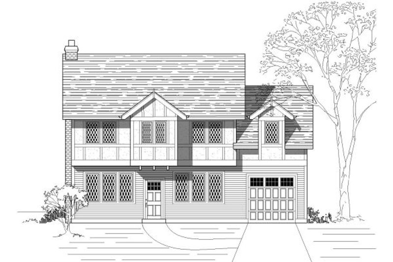 European Style House Plan - 3 Beds 2.5 Baths 1673 Sq/Ft Plan #423-36 Exterior - Front Elevation