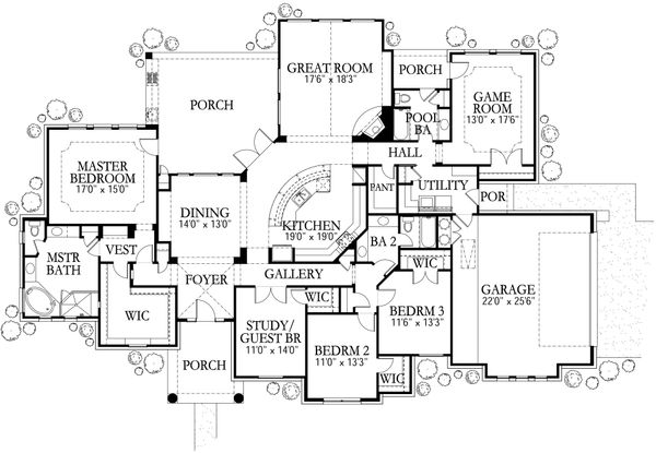 House Plan Design - Mediterranean Floor Plan - Main Floor Plan #80-179