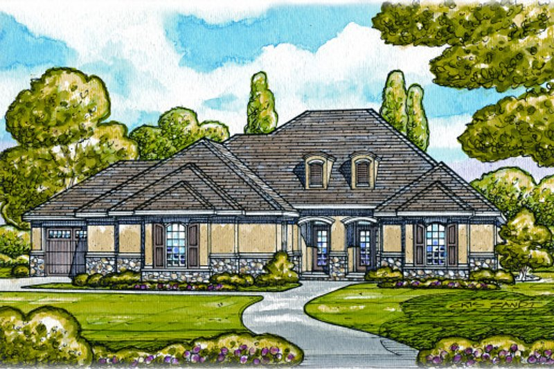 European Style House Plan - 2 Beds 2 Baths 2236 Sq/Ft Plan #20-2067