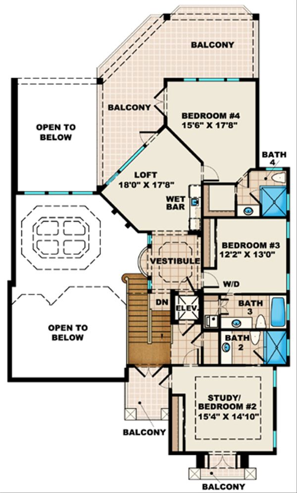 Mediterranean Floor Plan - Upper Floor Plan Plan #27-427