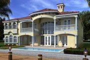 Mediterranean Style House Plan - 6 Beds 7.5 Baths 6784 Sq/Ft Plan #420-248 Exterior - Rear Elevation