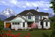 Dream House Plan - Tudor Exterior - Front Elevation Plan #70-1141