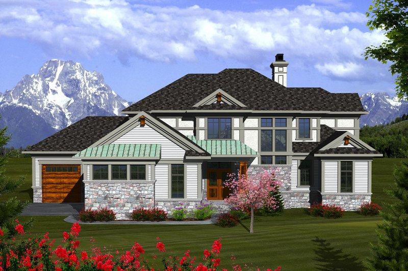 Tudor Exterior - Front Elevation Plan #70-1141