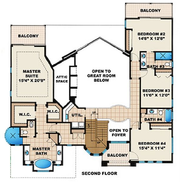 Mediterranean Floor Plan - Upper Floor Plan #27-206