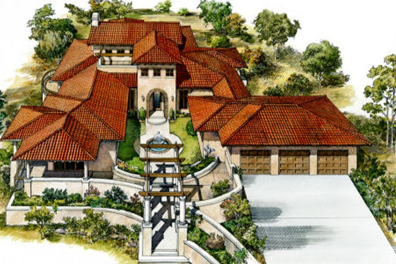 Mediterranean Style House Plan - 3 Beds 2.5 Baths 4297 Sq/Ft Plan #140-139 Exterior - Front Elevation