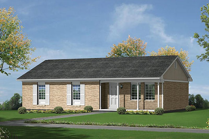 Colonial Style House Plan - 3 Beds 1.5 Baths 1160 Sq/Ft Plan #57-530 Exterior - Front Elevation