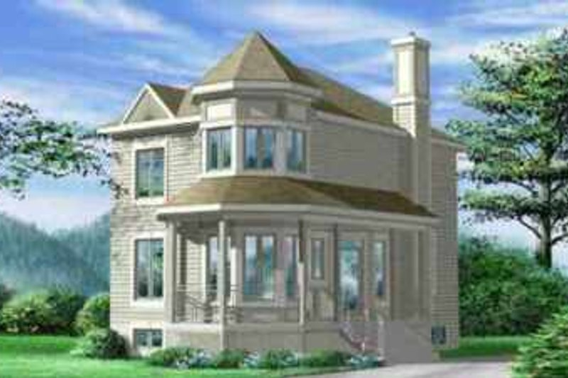 European Style House Plan - 2 Beds 2 Baths 1429 Sq/Ft Plan #25-2296 Exterior - Front Elevation