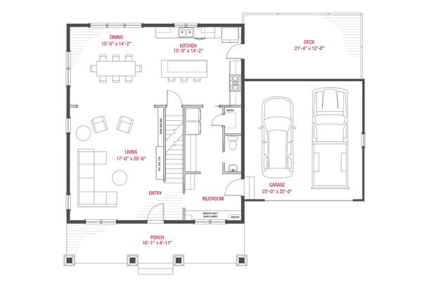 Craftsman Floor Plan - Main Floor Plan #1079-2