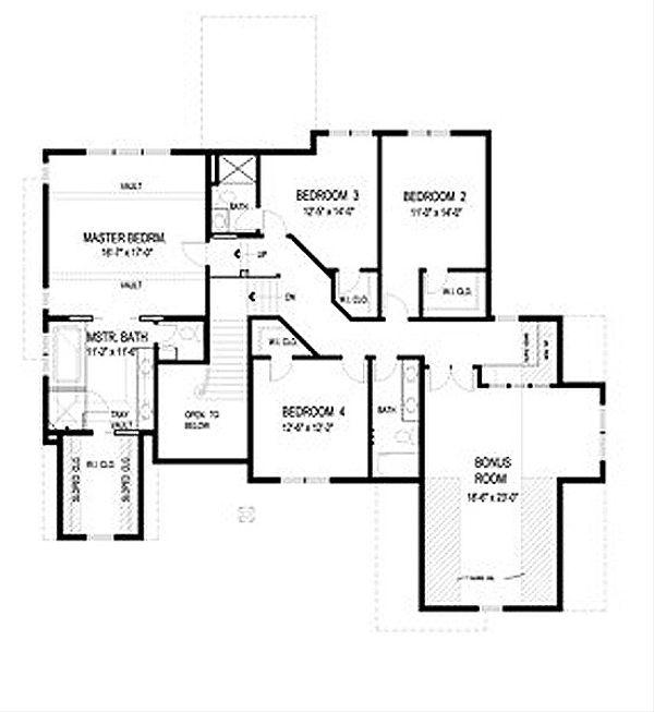 Traditional Floor Plan - Upper Floor Plan Plan #56-598