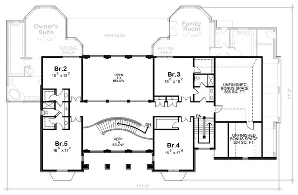 European Floor Plan - Upper Floor Plan Plan #20-2378