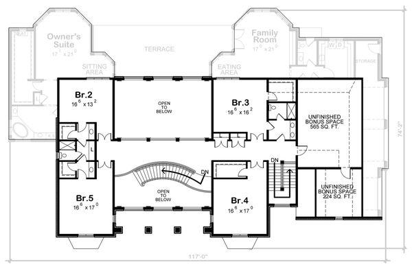 House Plan Design - European Floor Plan - Upper Floor Plan #20-2378