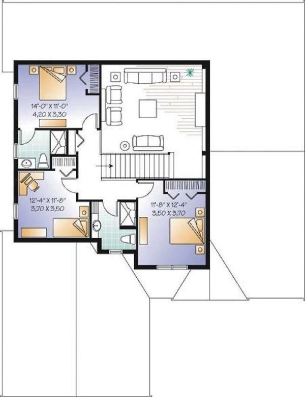 Traditional Floor Plan - Upper Floor Plan Plan #23-2548