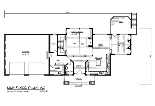 Craftsman Floor Plan - Main Floor Plan Plan #320-503