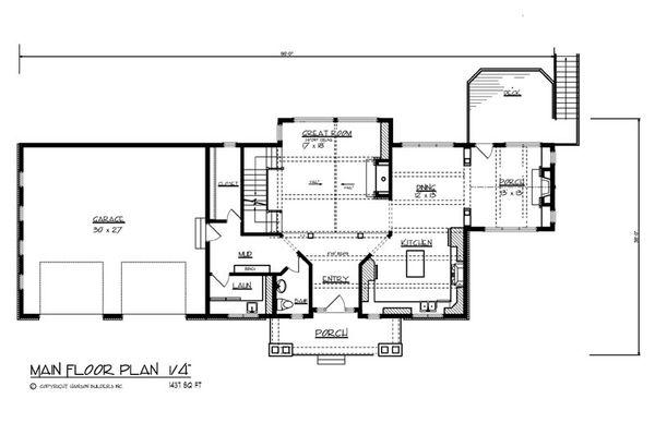 Craftsman Floor Plan - Main Floor Plan Plan #320-503