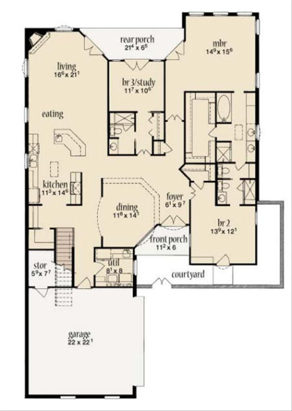 Mediterranean Floor Plan - Main Floor Plan Plan #36-461