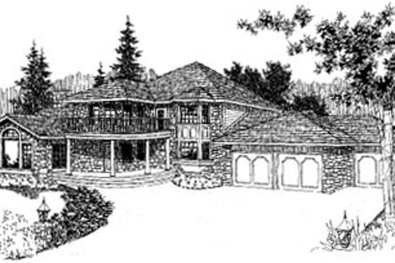 Traditional Style House Plan - 5 Beds 3.5 Baths 3456 Sq/Ft Plan #60-145 Exterior - Front Elevation