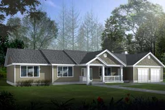 Ranch Exterior - Front Elevation Plan #100-405