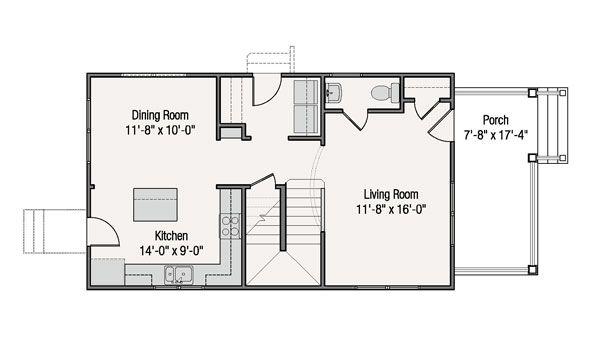 Craftsman Style House Plan - 3 Beds 2.5 Baths 1360 Sq/Ft Plan #461-38 Floor Plan - Main Floor Plan