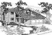 Bungalow Style House Plan - 2 Beds 2.5 Baths 1646 Sq/Ft Plan #60-310 Exterior - Front Elevation