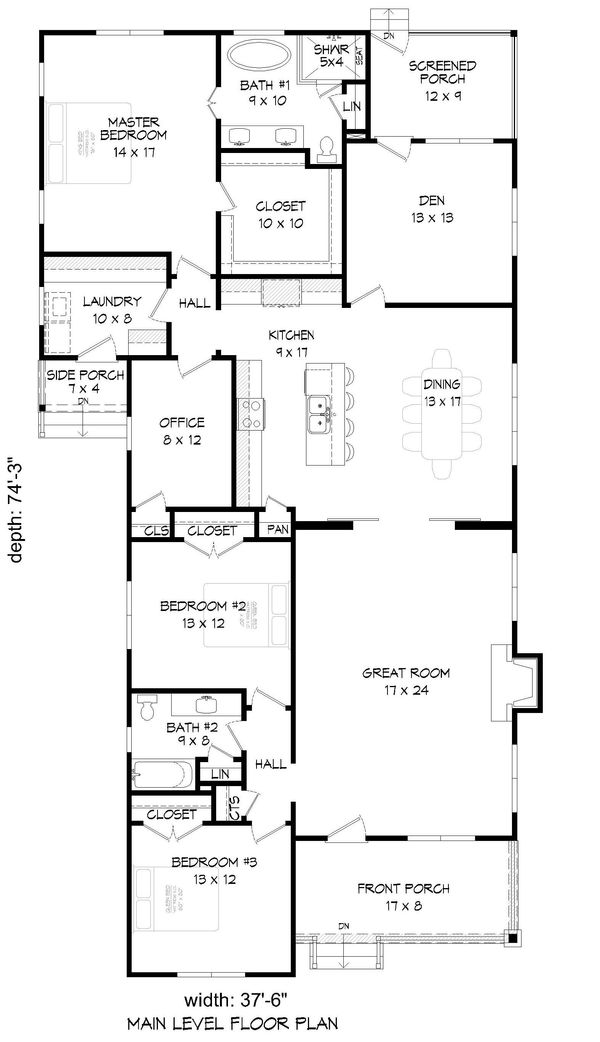 Architectural House Design - Country Floor Plan - Main Floor Plan #932-120