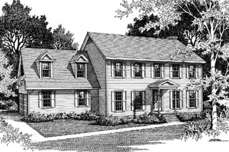 Colonial Style House Plan - 3 Beds 2.5 Baths 2262 Sq/Ft Plan #10-242 Exterior - Front Elevation