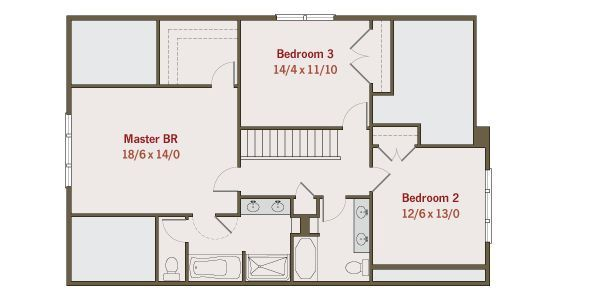 Craftsman Floor Plan - Upper Floor Plan Plan #461-25