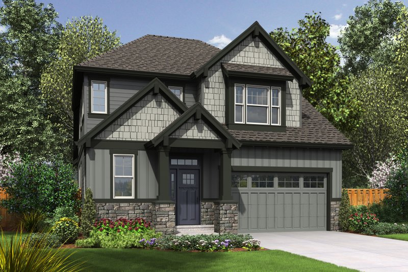 House Plan Design - Front View - 2100 square foot Craftsman home