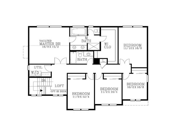 Craftsman Floor Plan - Upper Floor Plan Plan #53-627