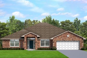House Blueprint - Ranch Exterior - Front Elevation Plan #1058-195