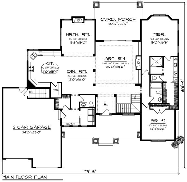 Ranch Floor Plan - Main Floor Plan Plan #70-1273