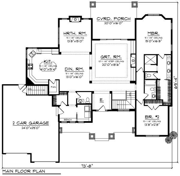 Ranch Floor Plan - Main Floor Plan Plan #70-1273