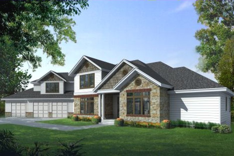 Traditional Style House Plan - 5 Beds 4.5 Baths 4271 Sq/Ft Plan #100-453 Exterior - Front Elevation