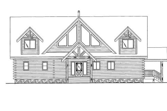 Log Exterior - Front Elevation Plan #117-599
