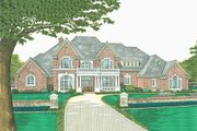 European Style House Plan - 5 Beds 4.5 Baths 5388 Sq/Ft Plan #310-523 Exterior - Front Elevation