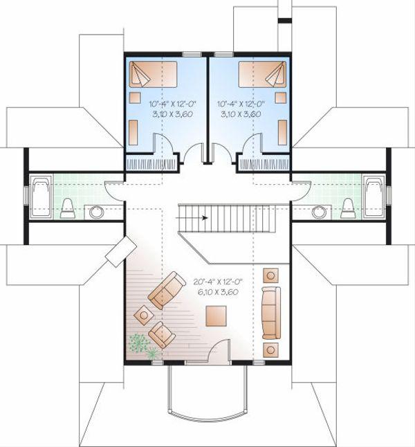 Traditional Floor Plan - Upper Floor Plan Plan #23-851
