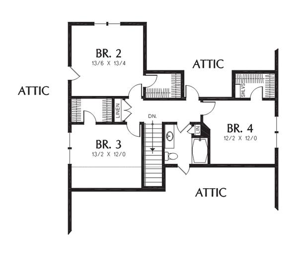 Craftsman Floor Plan - Upper Floor Plan #48-708