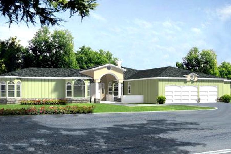 Ranch Style House Plan - 5 Beds 4.5 Baths 3553 Sq/Ft Plan #1-852 Exterior - Front Elevation