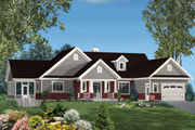 Country Style House Plan - 4 Beds 2 Baths 4230 Sq/Ft Plan #25-4621 Exterior - Front Elevation