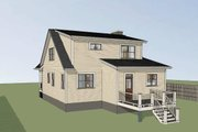 Bungalow Style House Plan - 3 Beds 2.5 Baths 1568 Sq/Ft Plan #79-314 Exterior - Rear Elevation
